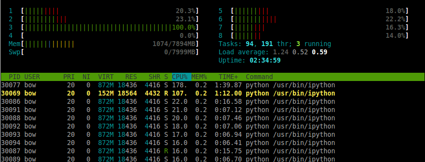 2 programmes Python, un mono-thread, le second avec 10 threads.